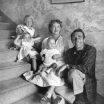 Bette Davis with her husband, Gary Merrill, and their children, ca. 1954