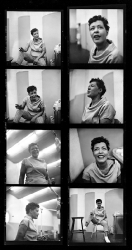 Contact sheet of Billie Holiday recording the album Music for Touching, August 25, 1955.