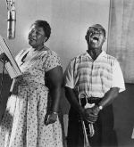Ella Fitzgerald and Louis Armstrong recording the album Ella and Louis, 1956