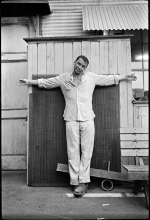 A personal gag photo requested by Sinatra while filming The Devil at 4 O'Clock in Hawaii, 1960. Sinatra had been having trouble with the director Mervyn LeRoy.  
