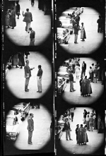 Contact sheet of photographs shot from a window at Goldwyn Studios, 1955