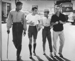 Sidney Poiter, Tony Curtis, Sammy Davis, Jr., and Jack Lemmon on the lot of Goldwyn Studios, 1959