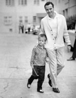 Jack Lemmon with his son, Chris, 1955