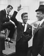 Dean Martin, Sammy Davis Jr., and Frank Sinatra in the recording studio, ca. 1955
