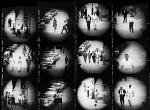 Contact sheet of photographs shot from a window at Goldwyn Studios, 1955