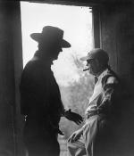 John Wayne and John Ford on the set of The Alamo, 1960